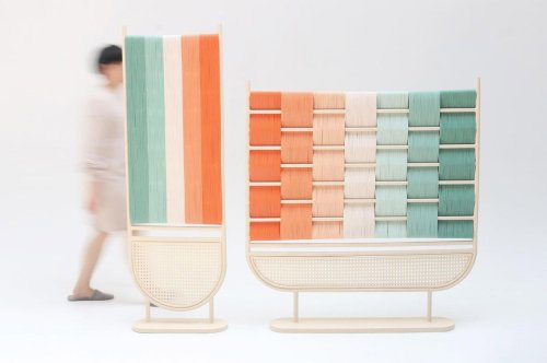 This detailed rattan room divider fuses traditional crafts with modern furniture design