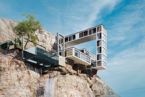 This mountain home looks like a Tetris game come alive to become a treacherous escapist's dream home!