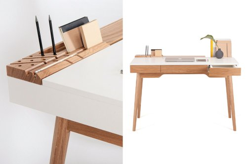 This home office desk comes with hidden storage systems to keep your desk setup organized!