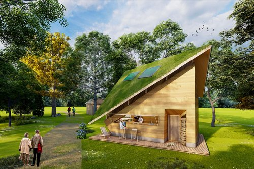 This rammed earth tiny home concept reinterprets farmhouses with a pitched green roof and photovoltaic panels!