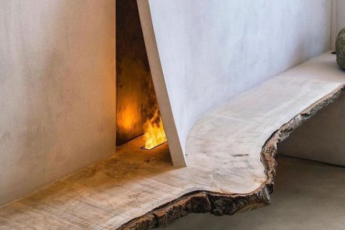 This hidden fireplace has been inspired by a Japanese philosophy!