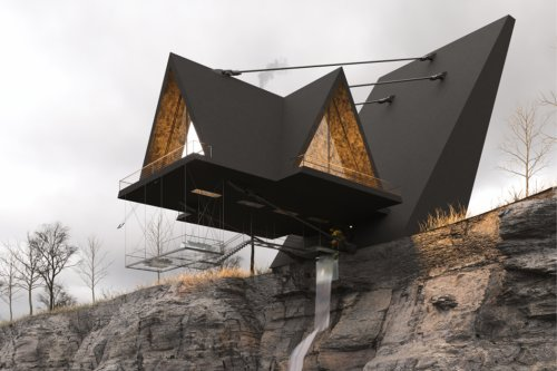 This daredevil hideaway cabin defies gravity using five support cables for the ultimate thrilling experience!