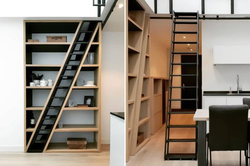 This bookshelf designed for a tiny home hides a sleek staircase. Watch the video!