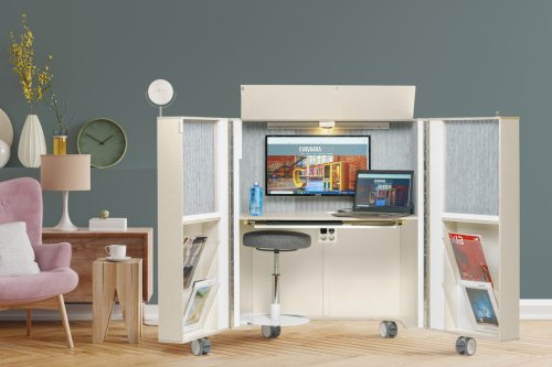 This easily concealable home office addresses productivity woes in style by transforming into furniture by night!