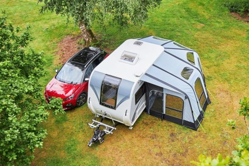 This compact camper with inflatable awning doubles the usable private space for outdoor enthusiasts!