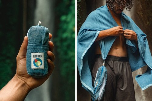 This bamboo-fiber travel towel is probably the world's first carbon-negative towel