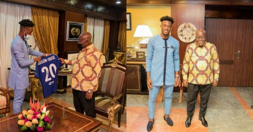 Chelsea winger Callum Hudson-Odoi meets Akufo-Addo; gifts him a signed jersey
