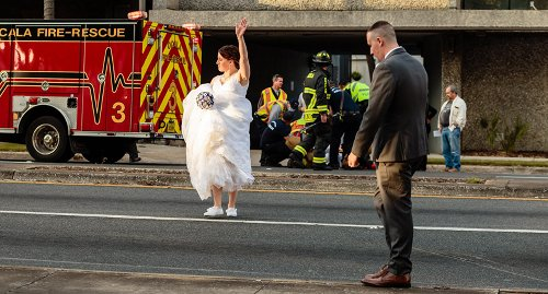 Bride and groom stop wedding after man hit by car