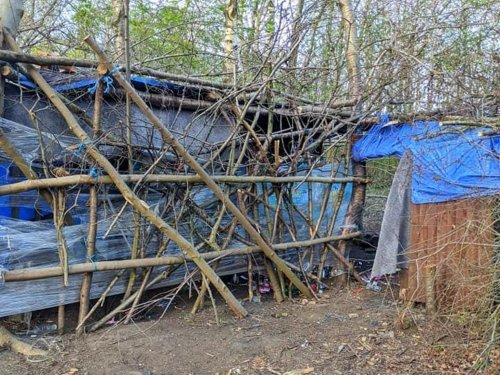 'We are asking that this stops': Police issue warning after secret den is discovered in Leeds woodland