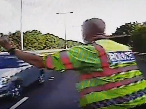 Watch as motorway driver ignores lane closure and narrowly misses West Yorkshire Police officer
