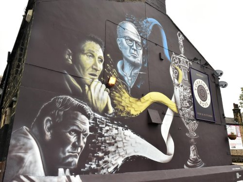 Finishing touches put to the latest Leeds United mural in Guiseley which celebrates promotion managers