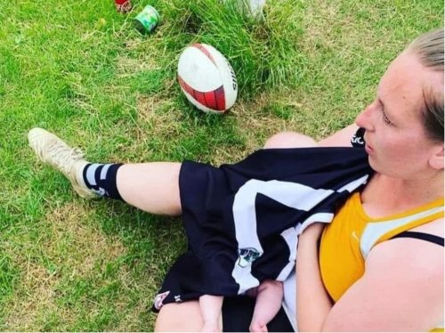Yorkshire mum hopes viral picture of her breastfeeding during rugby match substitution will normalise stigma