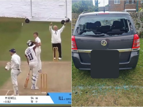 Watch the moment a West Yorkshire cricketer hits a 'massive six' right through his own car windscreen