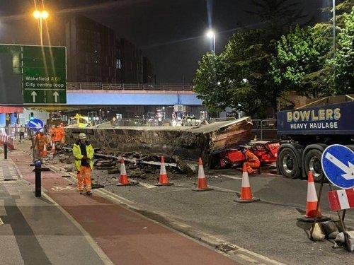 Huge concrete slab falls off lorry onto Regent Street Flyover during bridge demolition work