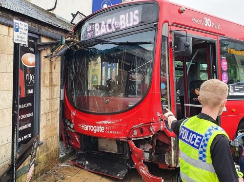 BREAKING: Bus ploughs into shop front and misses Wetherby Whaler Fish and Chip shop by inches
