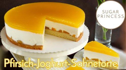 Einfachste Pfirsich-Joghurt-Sahnetorte! Super frisch, leicht und fruchtig! Rezept von Sugarprincess