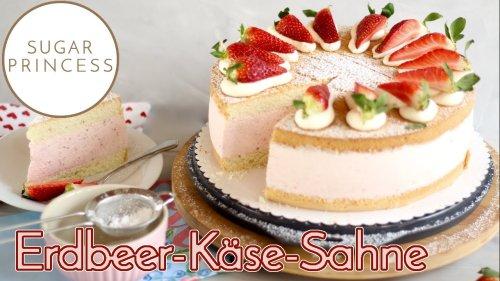 Traumhafte Erdbeer-Käse-Sahnetorte backen! Ostertorte / Geburtstagstorte   Rezept von Sugarprincess