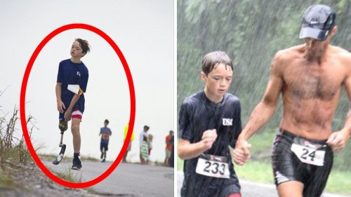 Marine Approaches A 9-year-old Boy In The Middle Of A Triathlon Baffling Everyone Present