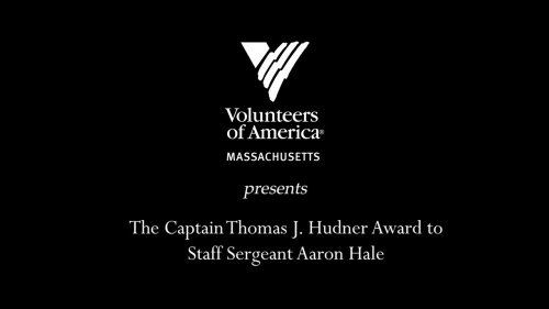 Staff Sergeant Aaron Hale receives the Thomas J. Hudner Award
