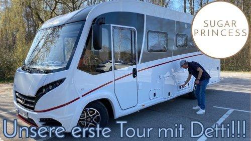 Tamino will nicht einsteigen! 😅Allererste Tour mit unserem Dethleffs Esprit nach Sinsheim-Hilsbach!