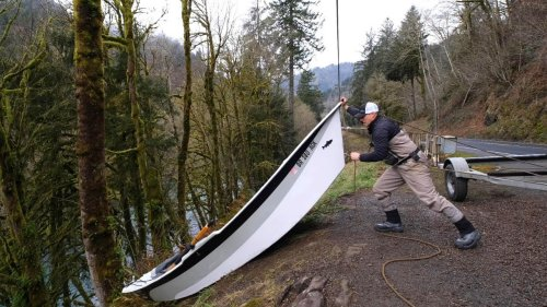 INSANE 150 Foot CLIFF Boat Launch! DO NOT ATTEMPT! INTENSE Winter Steelhead Fly Fishing Adventure!