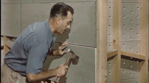 Drywall installation in 1950