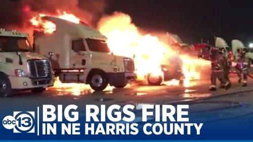 Massive fire destroys multiple trucks in NE Harris County