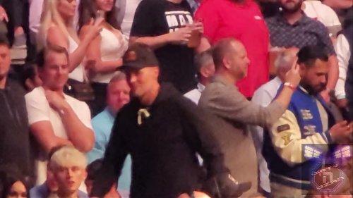 TB12 (Tom Brady) walks over to AB (Antonio Brown) for a Hug at UFC 261