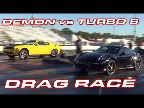 Watch a Dodge Demon Drag Race a 991 Turbo S