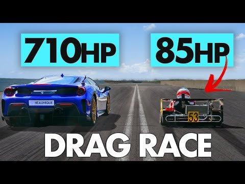 Watch This Ferrari 488 Pista Drag Race an 85-HP Superkart