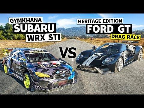 Watch Travis Pastrana's Gymkhana STI Stomp a Ford GT in a Drag Race