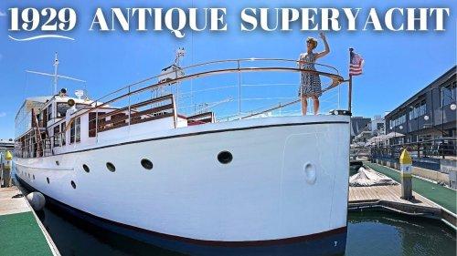 $495,000 1929 LAKE UNION FANTAIL 98' 30M Antique SUPERYACHT WALKTHROUGH SPECS Classic Boat Charter