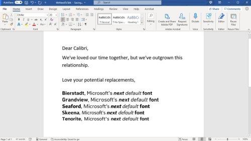 Microsoft : Calibri ne sera bientôt plus la police par défaut