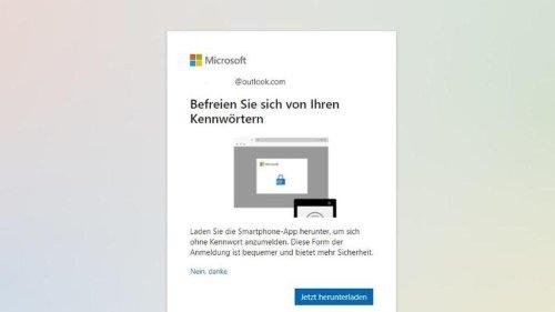 App zur Authentifizierung: Microsoft-Konto kann jetzt ohne Passwort genutzt werden